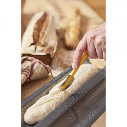 Baking tray for 2 baguettes, perforated non-stick steel