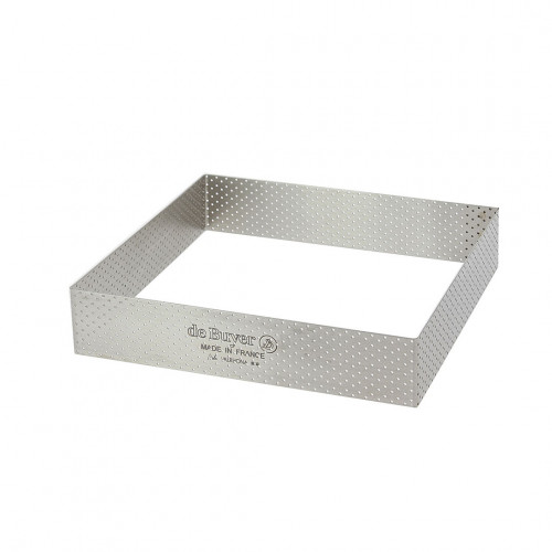 Square tart ring Ht 3,5 cm VALRHONA, perforated stainless steel