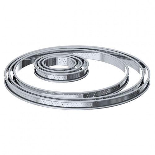 St steel Perforated tart ring rolled edge Ht 2cm