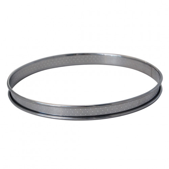 Cercle à tarte rond inox perforé bord roulé ht 2cm