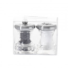 Set with salt shaker & pepper mill stainless steel and transparent acrylic 7 cm VOLTE