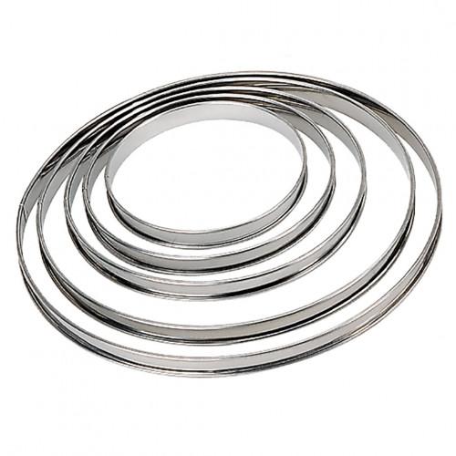 Cercle à tarte rond inox bord roulé ht 2cm