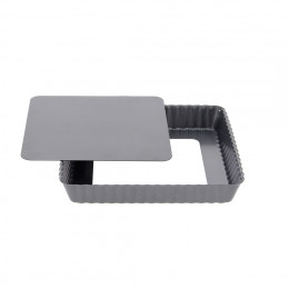 Square tart mould removable bottom, non-stick steel