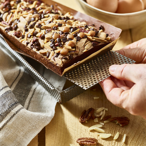 Rectangular tart mould and non-stick baking sheets, perforated stainless steel