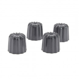 4 fluted Canelés Bordelais moulds, non-stick steel