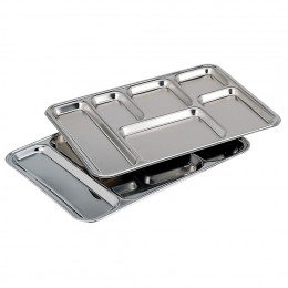 6-compartment serving dish, stainless steel