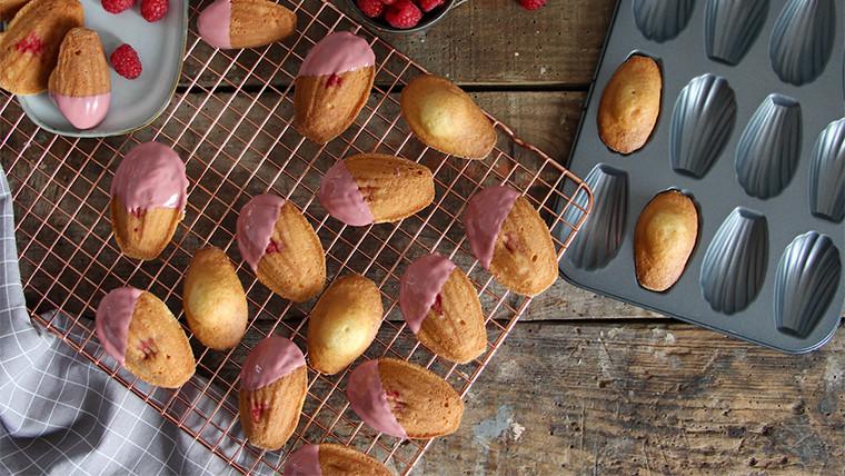 Vanilla and raspberry madeleines